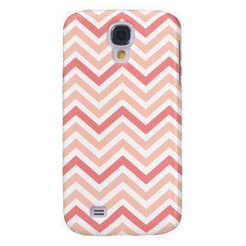 Pretty Coral and Peach Chevron Galaxy S4 Case