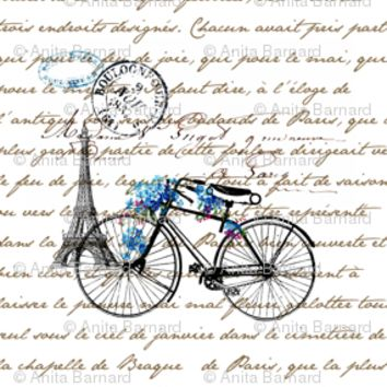 Paris Bicycle - 13moons_design - Spoonflower