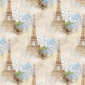 Paris Vintage Blue Hydrangeas - 13moons_design - Spoonflower