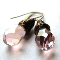 Pink Crystal Earrings Rose Pastel Pink Bronze Wire Wrapped Drop Earrings