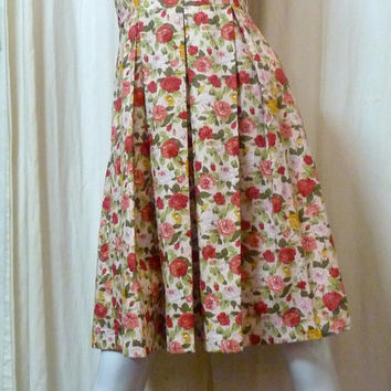 Retro 1960s Inspired Rose Flower Print Boat Neck Sleeveless Fit And Flare with Box Pleat Navy Blue Dress - ORTV53