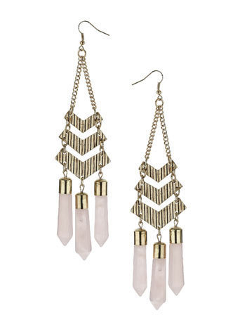 Pink Spear Stone Chandelier Earrings - Jewelry By Diva  - Accessories  - Miss Selfridge US
