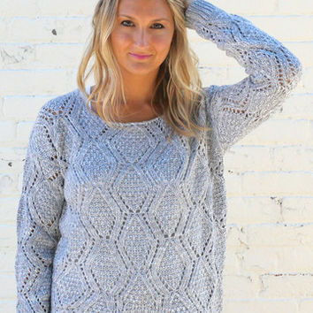 Diamond Knit High Low Sweater - Heather Gray – H.C.B.