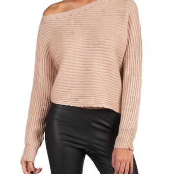 KNITTED OPEN SHOULDER CROP SWEATER