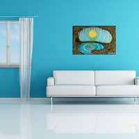 Original Large Acrylic Cave Painting, Living Room, Bedroom, Bas-Relief Painting, Textured