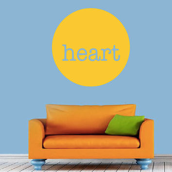 HEART in circle Wall Decal - Minimal - Simple - Modern - Living Room - Bedroom - Office - Gift Idea - High Quality Vinyl Graphic