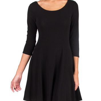 SUPER SOFT ROUND NECK 3/4 DRESS - BLACK