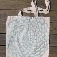 Hand-Drawn Minty Blue and Silver Thin Canvas Tote Bag