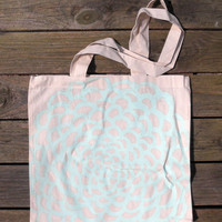 Hand-Drawn Mint Floral Canvas Tote Bag