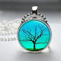Round Glass Bezel Photo Art Pendant Tree Pendant Tree Necklace With Silver Ball Chain (A3548)