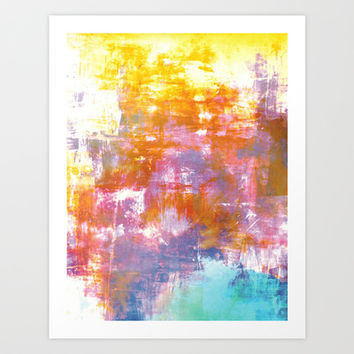 OFF THE GRID 3 Colorful Pastel Neon Purple Rust Yellow Abstract Watercolor Acrylic Textural Painting Art Print by EbiEmporium