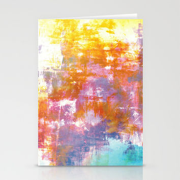OFF THE GRID 3 Colorful Pastel Neon Purple Rust Yellow Abstract Watercolor Acrylic Textural Painting Stationery Cards by EbiEmporium