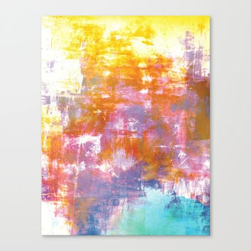 OFF THE GRID 3 Colorful Pastel Neon Purple Rust Yellow Abstract Watercolor Acrylic Textural Painting Stretched Canvas by EbiEmporium