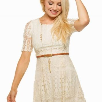 JOLT LACE BELTED DRESS