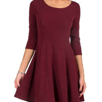 SUPER SOFT ROUND NECK 3/4 DRESS - BURGUNDY