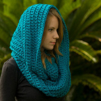 Oversized Hooded Scarf, Infinity Scarf, Chunky Cowl, Electric Blue, Christmas in July Sale, CIJ