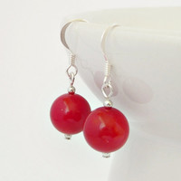 Red Coral Silver Earrings, Natural Coral Bead Earrings, Healing Stone, Taurus, Pisces Birthstone, May Birthstone, Fashion Jewelry