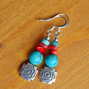 Concho earrings, turquoise earrings, southwestern dangles, cowgirl earrings, coral drops, native american, boho tribal, silver, Navajo, OOAK
