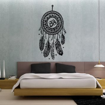 Wall Decal Vinyl Sticker Decals Art Home Decor Murals Bedroom Indian Yoga Dream Catcher Dreamcatcher Feathers Hindu Om Symbol Decals V994