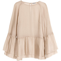 H&M - Flounced Silk-blend Blouse - Beige - Ladies