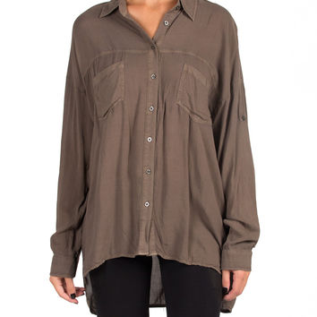 OVERSIZED BUTTON UP BLOUSE - OLIVE