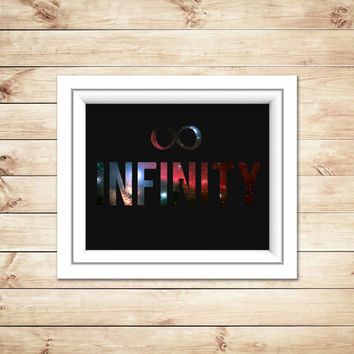 Infinity Print, Galaxy Print, Typographic Print, Typography, Space Background, Home Decor, Dorm Decor