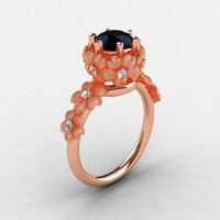 14K Rose Gold Black and White Diamond Flower Wedding Ring, Engagement Ring NN109S-14KRGDBD