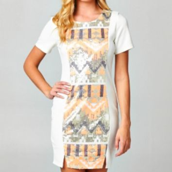 southwestern sequin design bodycon dress white