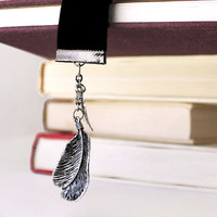 Feather and Leaf Boho Ribbon Bookmark Nature Charm Bookmark