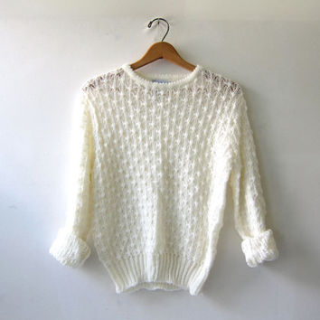 20% OFF SALE...80s natural white sweater. knit sweater. pom pom sweater. small fit sweater.
