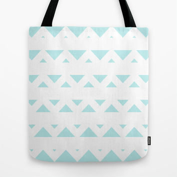 Turquoise Aqua Blue Tribal Triangles Tote Bag by BeautifulHomes
