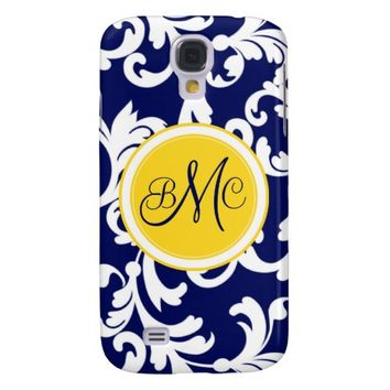 """M"" Monogrammed Damask in Navy Blue and Yellow"