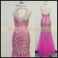 Freeshipping DW62103-2 Rose Halter Deep V-Neck Backless dress evening dress with stone, View evening dress 2014, Chaozhou Choiyes Evening Dress Product Details from Chaozhou Choiyes Evening Dress Co., Ltd. on Alibaba.com