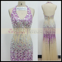 Freeshipping DW62103-2 Halter Deep V-Neck Backless Champagne purple Crystal Stone prom dress Long, View prom dress, Chaozhou Choiyes Evening Dress Product Details from Chaozhou Choiyes Evening Dress Co., Ltd. on Alibaba.com