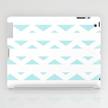 Turquoise Aqua Blue Tribal Triangles iPad Case by BeautifulHomes
