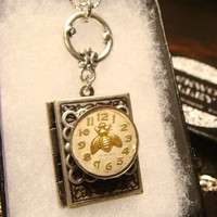 Tiny Bee over Watch Face Upcycled Steapunk  Book LOCKET Necklace  (1846)