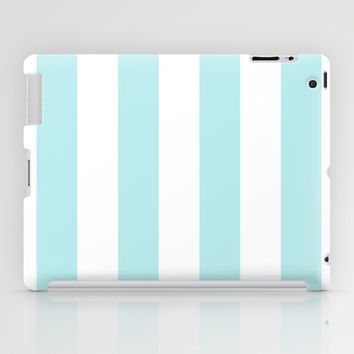 Turquoise Aqua Blue Stripe Vertical iPad Case by BeautifulHomes