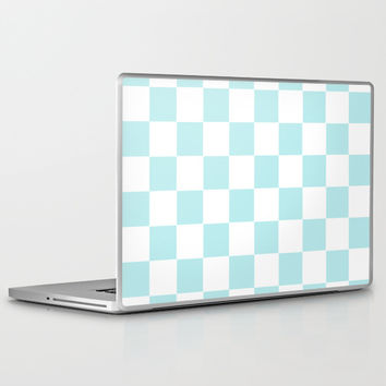 Turquoise Aqua Blue Checkers Laptop & iPad Skin by BeautifulHomes