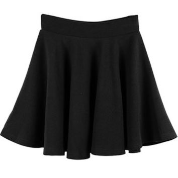 Women Girls Stretch Casual Night Out Pleated Skater Mini-Skirt