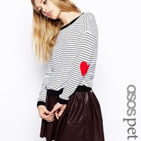 ASOS PETITE Stripe Jumper With Heart Elbow Patch at asos.com