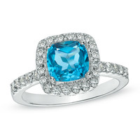 7.0mm Cushion-Cut Swiss Blue Topaz and Lab-Created White Sapphire Frame Ring in Sterling Silver - Size 7