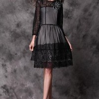 Black Transparent Sleeves Thin Lace Dres
