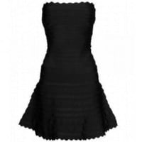 Scalloped Strapless Bandage Dress Black