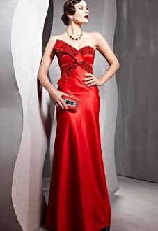 Red Evening Dress With Butterfly Bow