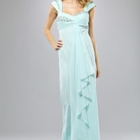 SALE! LM Collection 2012 Prom Dresses - Aqua Ice Gathered & Beaded Chiffon Cap Sleeve Empire Waist Draping Prom Dress | Unique Prom