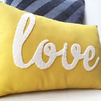 Yellow Love PIllow by HoneyPieDesign on Etsy