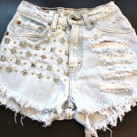 High waist destroy denim shorts super frayed and studs size Sm