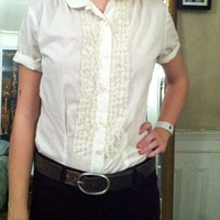 1950s Ruffled Peter Pan Collard White Shirt