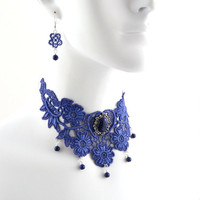 Light Blue Lace Choker Jewelry Set Necklace and Earrings with Lapis Lazuli - Victorian, Romantic, Fashion, Unique Jewelry for Women