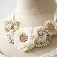 Wedding Floral Necklace in Ivory White, Cream and Blush